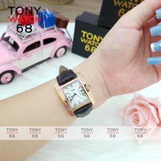 Đồng hồ nữ Skmei chính hãng dây da mặt vuông mạ vàng chống nước Tony Watch 68
