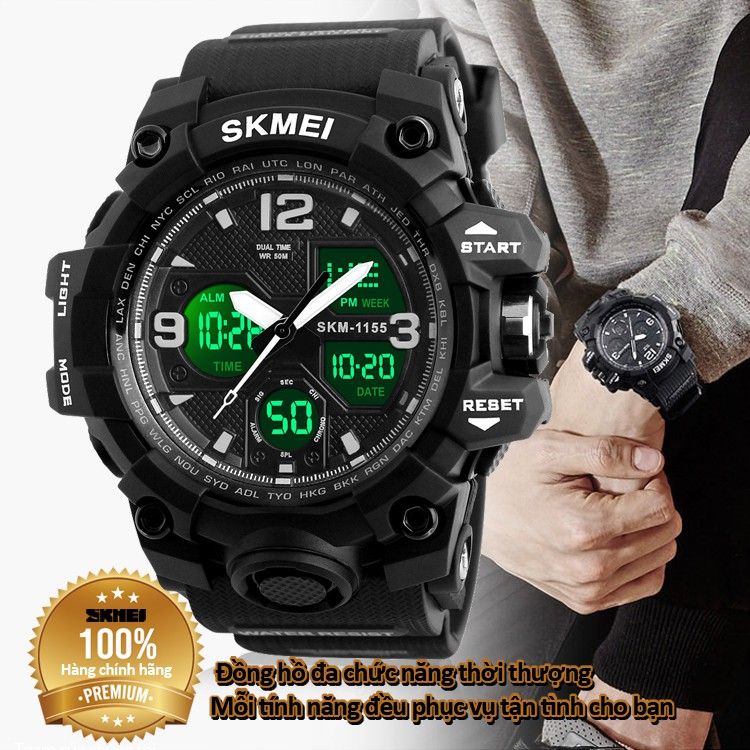 Đồng hồ điện tử nam kiểu dáng thể thao chống nước tuyệt đối siêu bền đa chúc chức năng bảo hành 12 tháng SKMEI 1155B