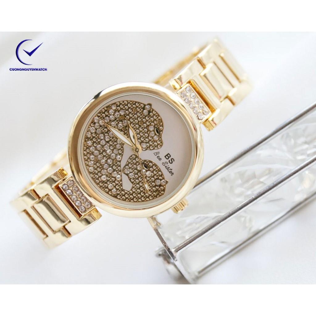 Đồng hồ nữ Bee Sister họa tiết beo cá tính-BS31V -(vàng)