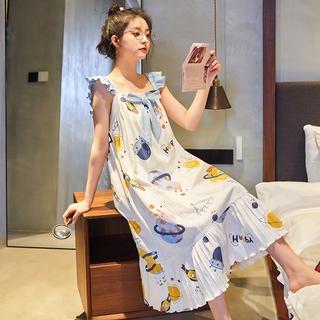 Đầm Ngủ Hai Dây Vải Cotton Mỏng Thiết Kế Dễ Thương Cho Nữ