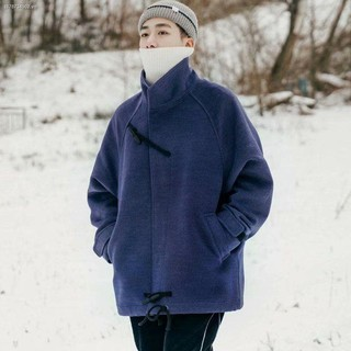 ✒☜Winter new style Japanese retro horn button woolen coat men s short Hong Kong ins thick trend