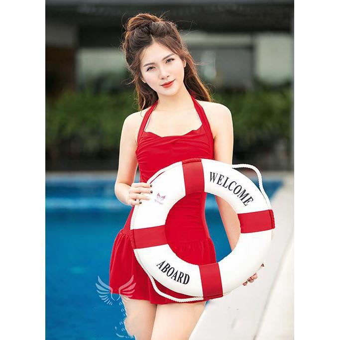 Bikini, Đồ bơi nữ, Bộ đồ bơi 1 mảnh, đồ bơi liền thân đỏ đen gợi cảm che khuyết điểm cao cấp chất thun lạnh
