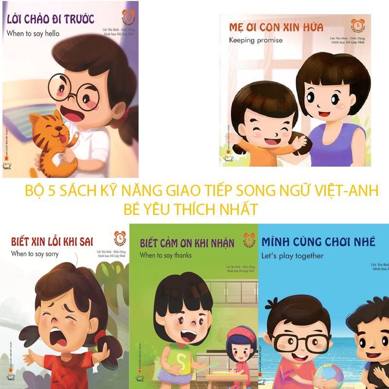 Combo 5 Sách Kỹ năng giao tiếp Song ngữ Việt - Anh 5 chủ đề bé yêu thích
