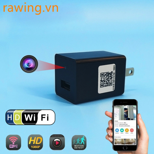 HD 1080P Wireless Mini Camera Wall Wifi Charger Adapter Video Security Camera Giá chỉ 341.600₫