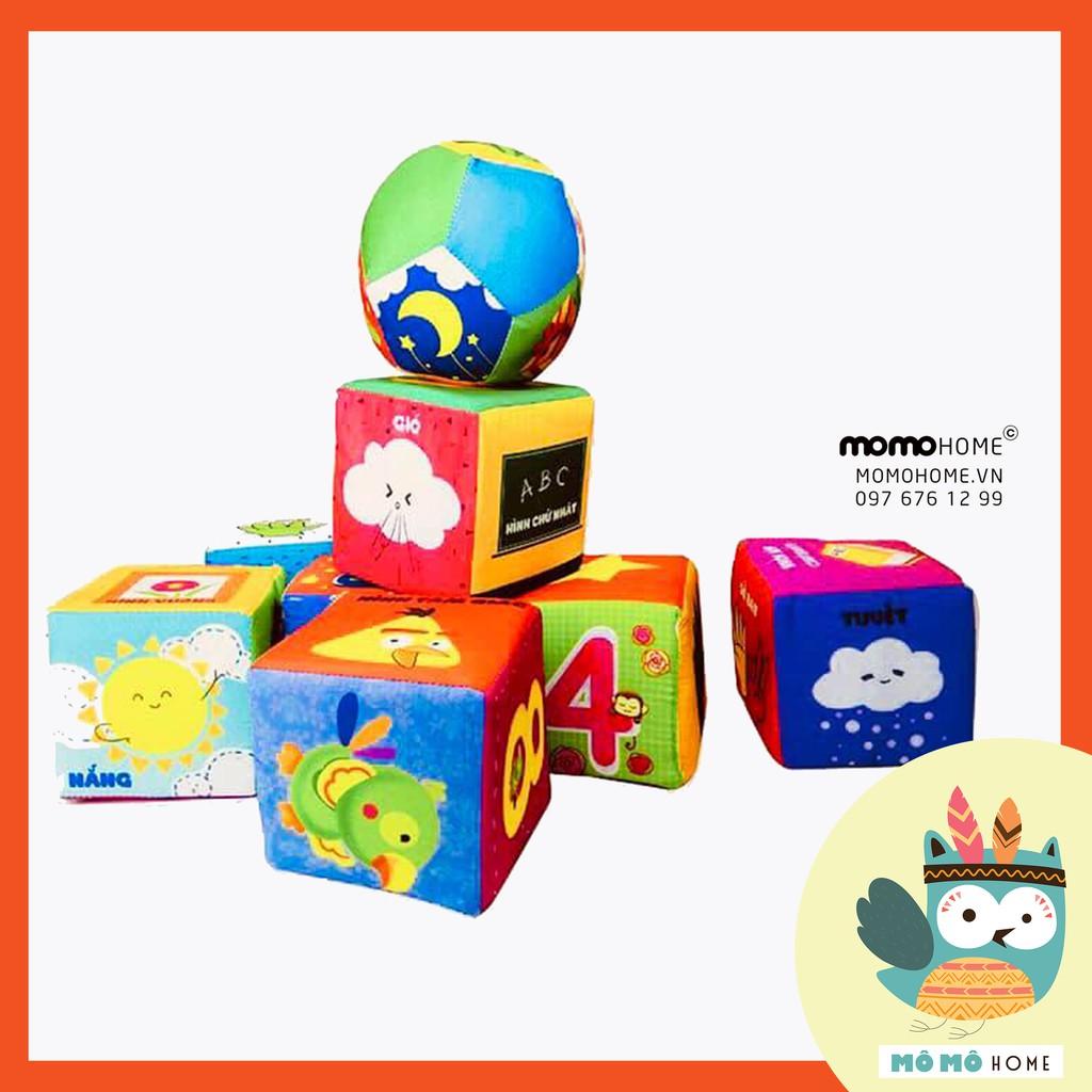 Bộ Hình Khối Xúc xắc hình khối vui nhộn 8 hình lập phương tặng kèm 1 Bóng Tròn chuẩn xịn an toàn cho bé sơ sinh