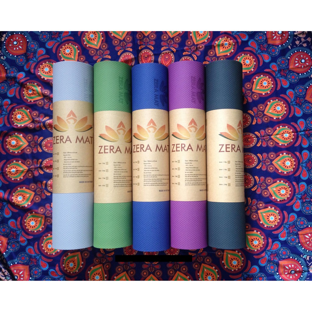 Thảm tập yoga 2 lớp TPE dày 8mm ZeraMat cao cấp có túi đựng
