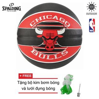 Bóng rổ Spalding NBA Team Chicago Bulls Outdoor size 7 Tặng bộ kim bơm bóng và lưới đựng bóng