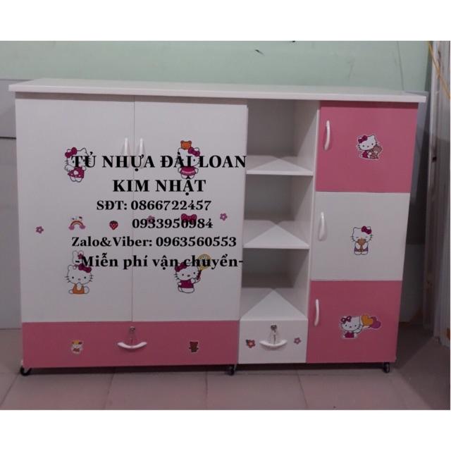 Tủ trẻ em màu hồng hello kitty siêu dễ thương freeship