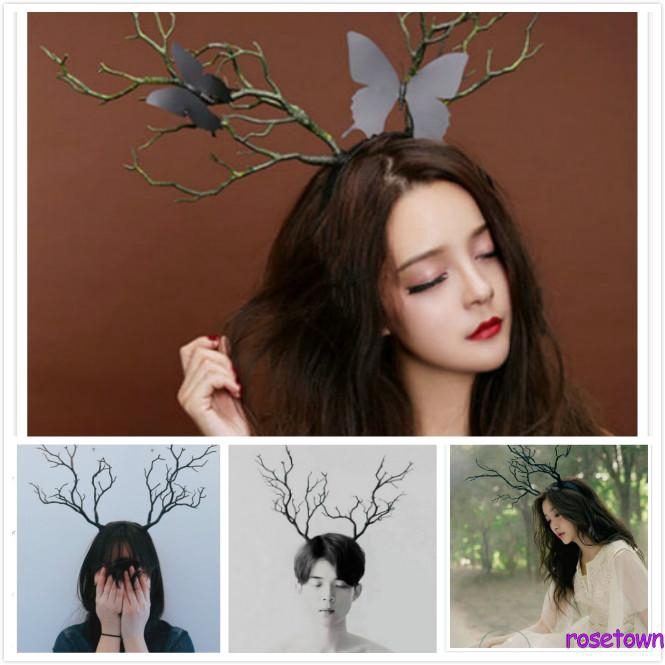 YJ★Long Antlers Tree Branches Horns Hat Hair Headband Cosplay Party Fancy Dress NEW
