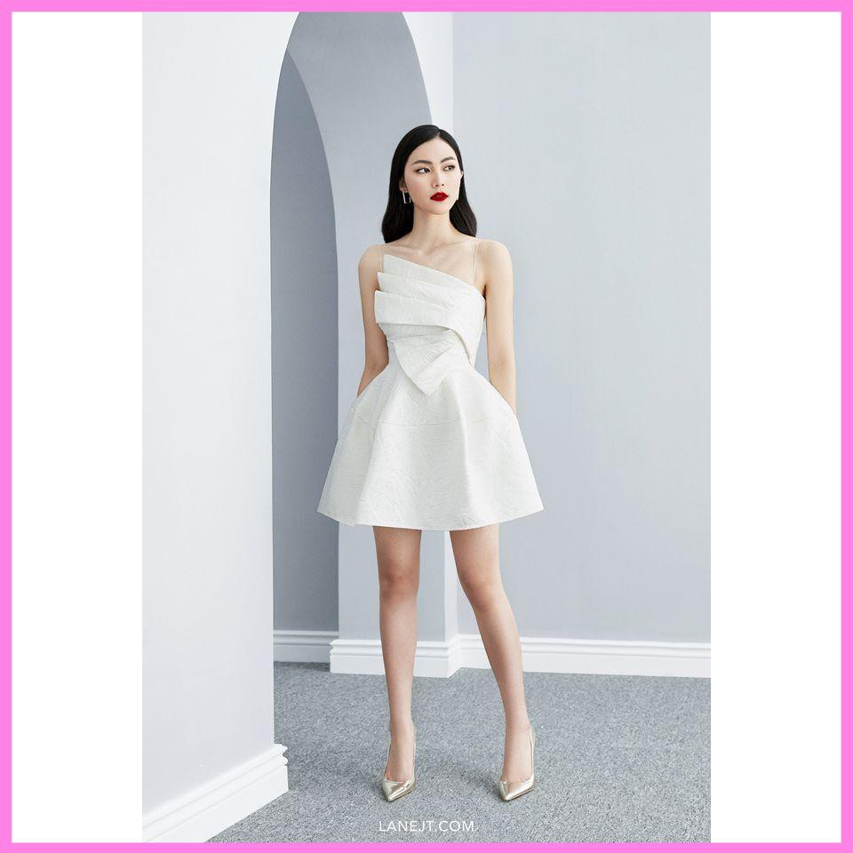 Đầm 2 dây chất gấm cao cấp [ Váy trắng dự Tiệc