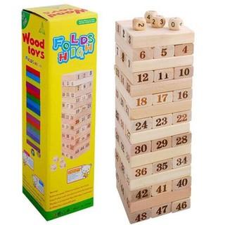 Bộ đồ chơi rút gỗ 48 thanh cho bé loại thanh lớn 7cm, nặng 1kg – Kèm 4 xúc xắc- 407