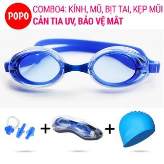 Bộ Kính bơi Mũ bơi trơn, Bịt tai kẹp mũi POPO 1153 mắt kính trong chống tia UV hạn chế sương mờ