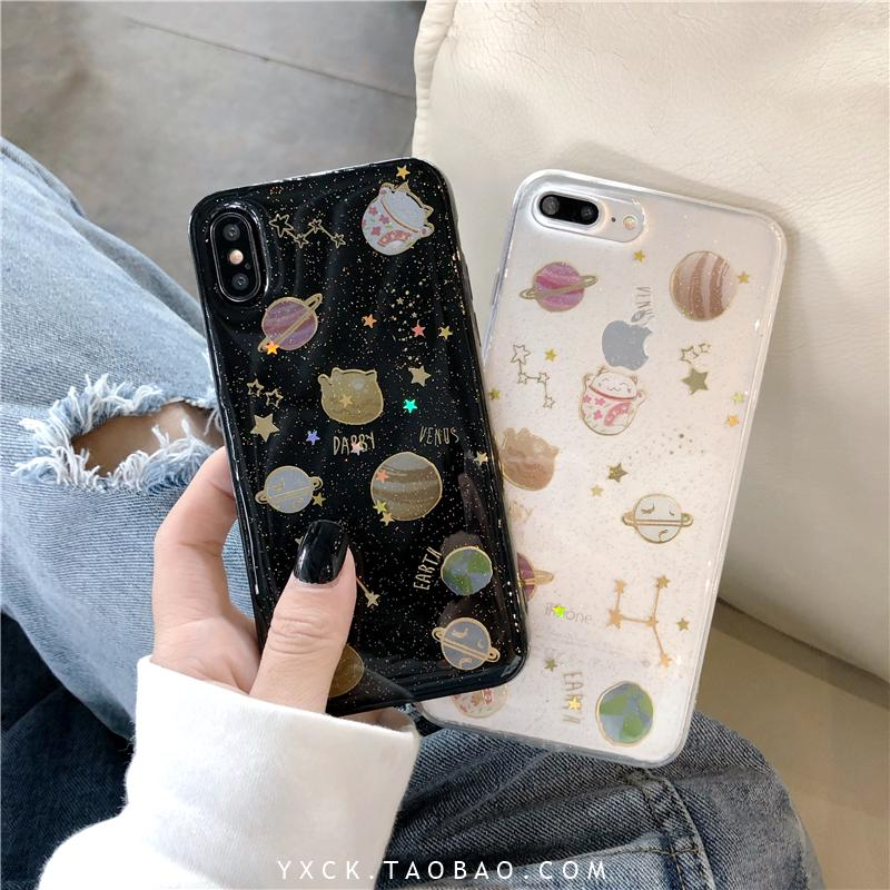 ✽✠Sequined Starry star Fortune cat 7plus Apple x mobile phone shell xs max/xr/iphonex/8p anti-wrestling sleeve woman 6s