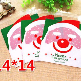 Túi bánh dán Santa - Merry Christmas 14x14cm - 100 túi