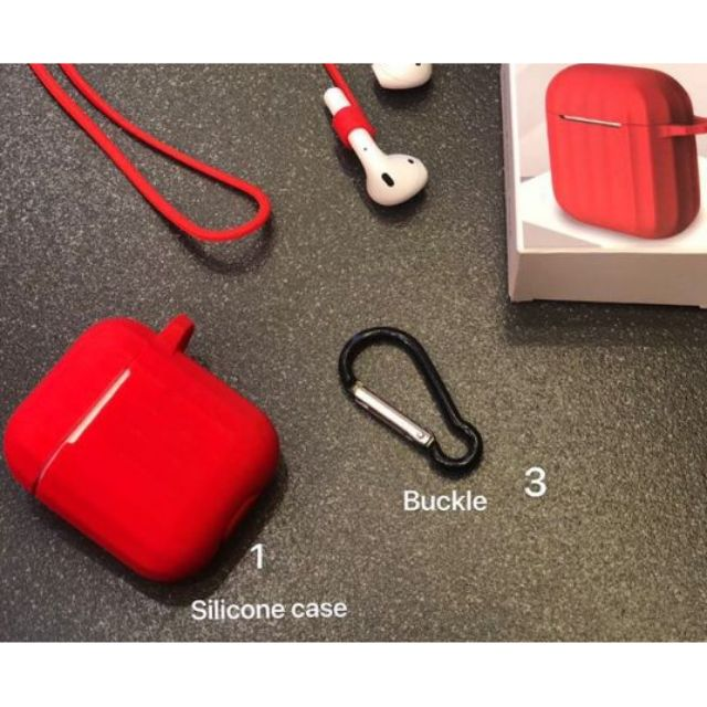 Combo Ốp silicon kèm dây giữ tai nghe Apple Airpods 1 & 2