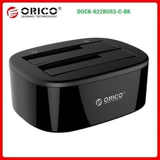 """Đế Dock ổ cứng 2 khay 3.5""""/ 2.5"""" USB 3.0 ORICO 6228US3-C-BK – BH chính hãng 12 Tháng VISCOM"""
