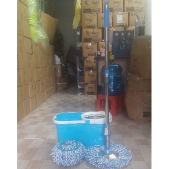 ( Thái Lan ) Bộ lau nhà 360 độ cao cấp HO - 03 xanh dương ( 2 bông lau - có bánh xe )