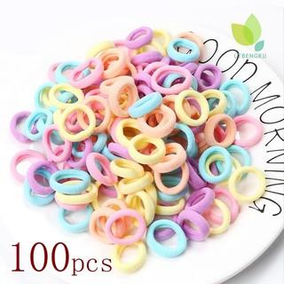 (Hàng Mới Về) Set 100 Dây Buộc Tóc Co Giãn Màu Kẹo Dễ Thương Cho Bé Gái