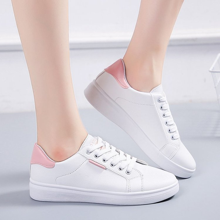 Giày Sneaker Màu Trơn Cột Dây Thoải Mái Cho Nữ