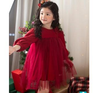 Váy nhung đỏ Lamm nơ vai phối voan cho bé gái diện Giáng sinh và Tết