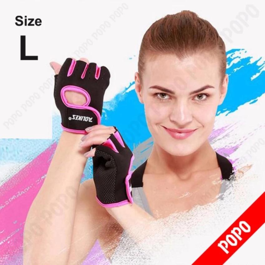 Găng tay tập GYM, có khóa dính PINK găng tay nâng tạ, găng tay xe đạp độ bám cao, thoáng khí mềm mại