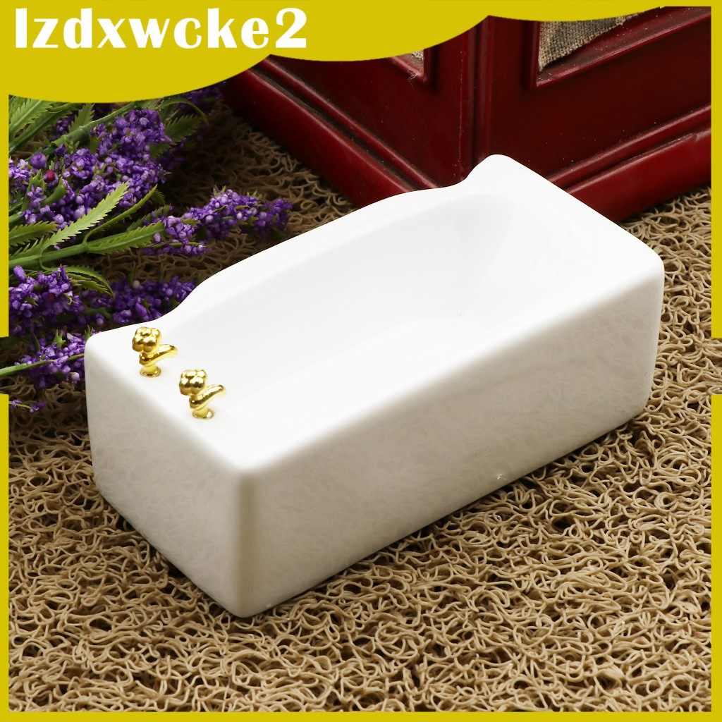 GamZine 1/12 Ceramic White Square Bathroom Bathtub Dolls House Decoration Accessory