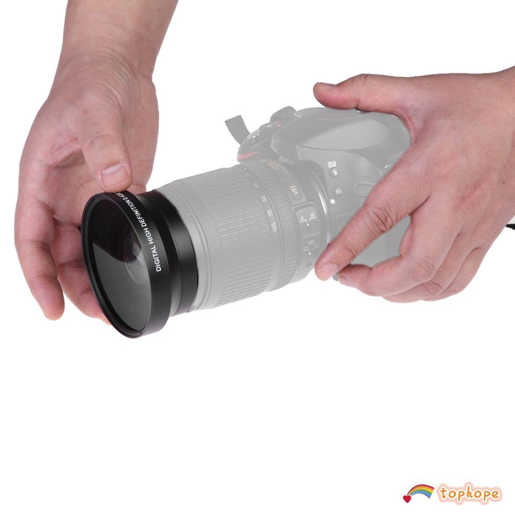 Set 1 thấu kính góc rộng 67mm 0.43x + 2 Nắp che thấu kính + 1 túi đựng tiện dụng