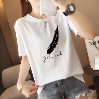 túi harajuku Sexy Short Sleeve Tee Cartoon Feather Printing O-Neck T-shirts Lightweight Ladies T-shirts