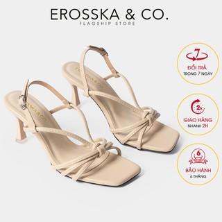 Giày sandal cao gót Erosska mũi vuông phối dây quai mảnh cao 7cm màu nude - EB028
