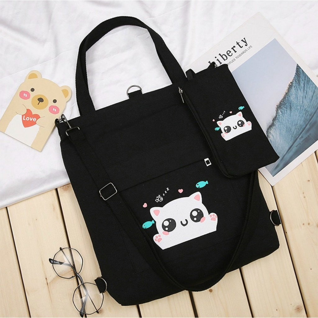 Túi tote, túi vải nữ thời trang phong cách Hàn quốc đựng vừa a4- DAIMENG 2