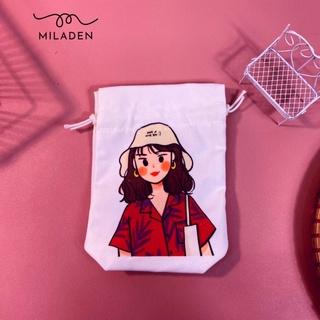 Túi Vải Dây Rút Girl Đội Nón, đựng đồ tiện lợi, thời trang cao cấp, chống bụi chống nước, giữ đồ an toàn Miladen thumbnail