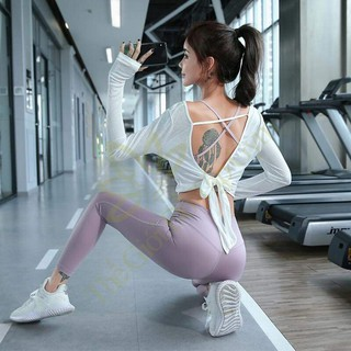 Áo tập yoga Tank dài buộc dây