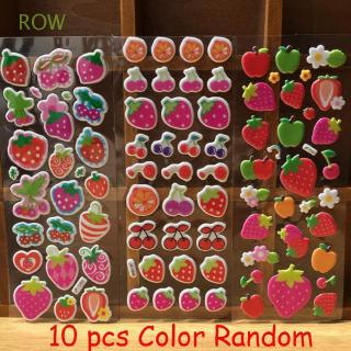ROW 10 Sheets Random Colorful Funny Foam Cute Scrapbooking 3D Fruits Stickers
