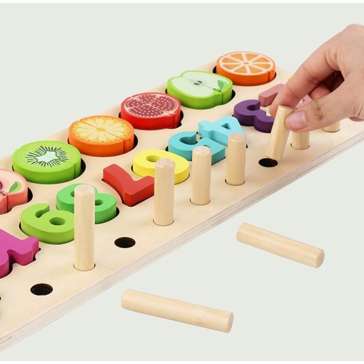 Bảng gỗ giáo dục sớm 3 trong 1 (Học toán Bậc Thang 10 Cột Tính Kèm Hình Khối và bộ...