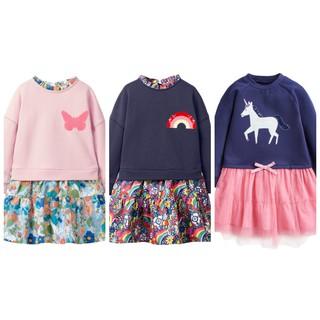 Mã S0824, S0825, S0842-Váy bé gái thiết kế cách điệu phối áo thun chan  váy hoa phong cách Âu Mỹ của Liltte Maven