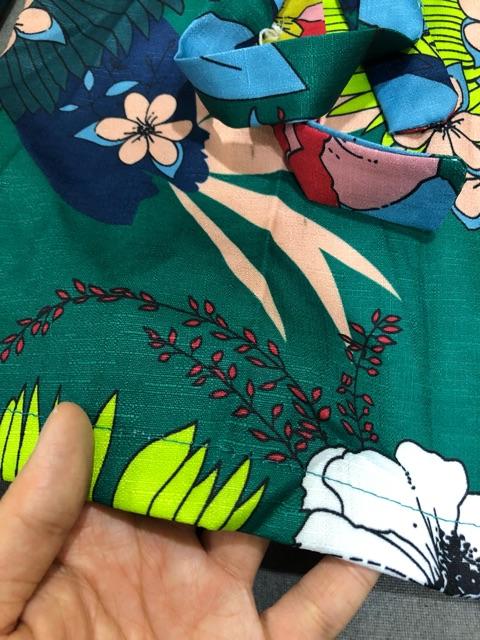 [HÀNG ORDER] Áo váy hoạ tiết dáng vest vắt chéo thắt nơ eo(CÓ ảnh thật)