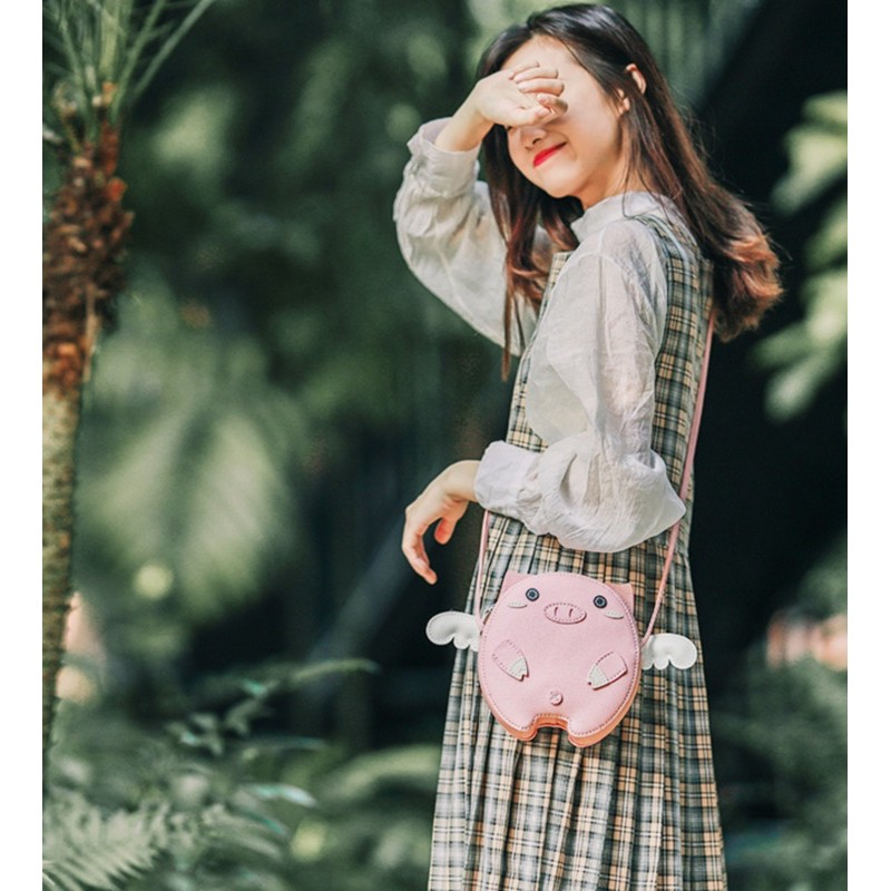 DIY bộ kit túi da đeo chéo Ulzzang tự may hình heo con đáng yêu nguyên liệu đầy đủ cắt sẵn làm quà tặng ý nghĩa lenmade