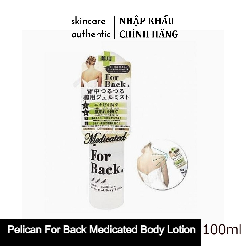 Xịt Mụn Lưng Pelican For Back Medicated Body Lotion 100ml