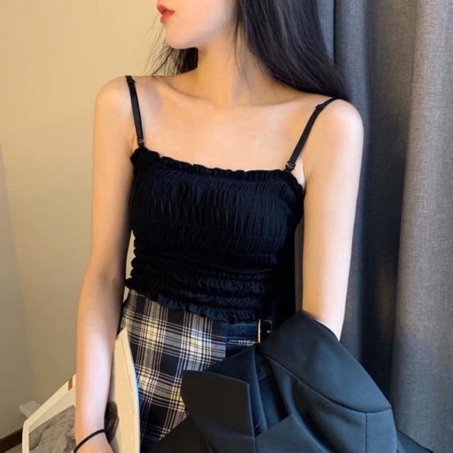 Áo 2s - 2 dây - quây dáng ôm kiểu bo chun (có mút ngực)