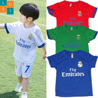 Combo 4 bộ đồ đá banh trẻ em vải thun mè co giãn – 4 màu khác nhau – LOSI Fly Emirates 4 bộ đồ thể thao