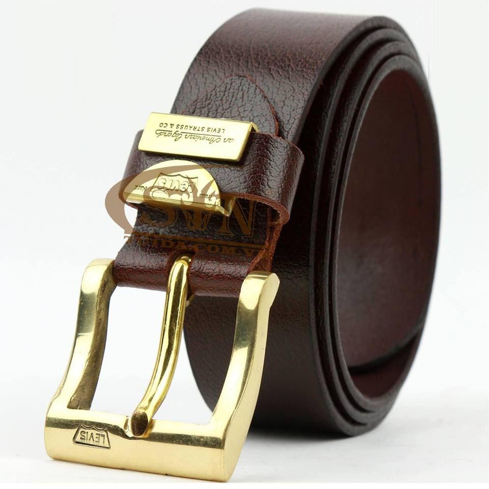 Dây thắt lưng nam thời trang hàng hiệu khóa đồng đúc dây da bò nhập Italy