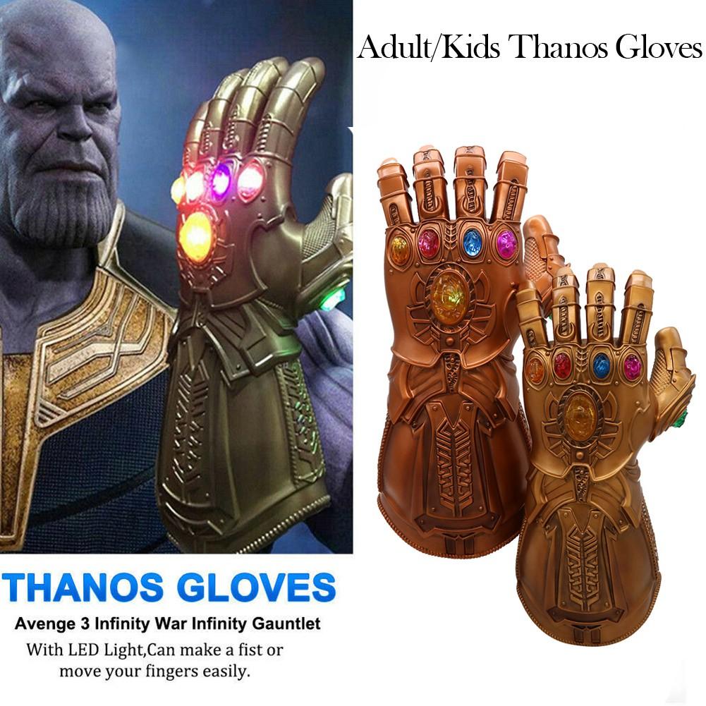 Avengers 4 Endgame Gauntlet LED Light PVC Action Figure Adult Kids Thanos Gloves