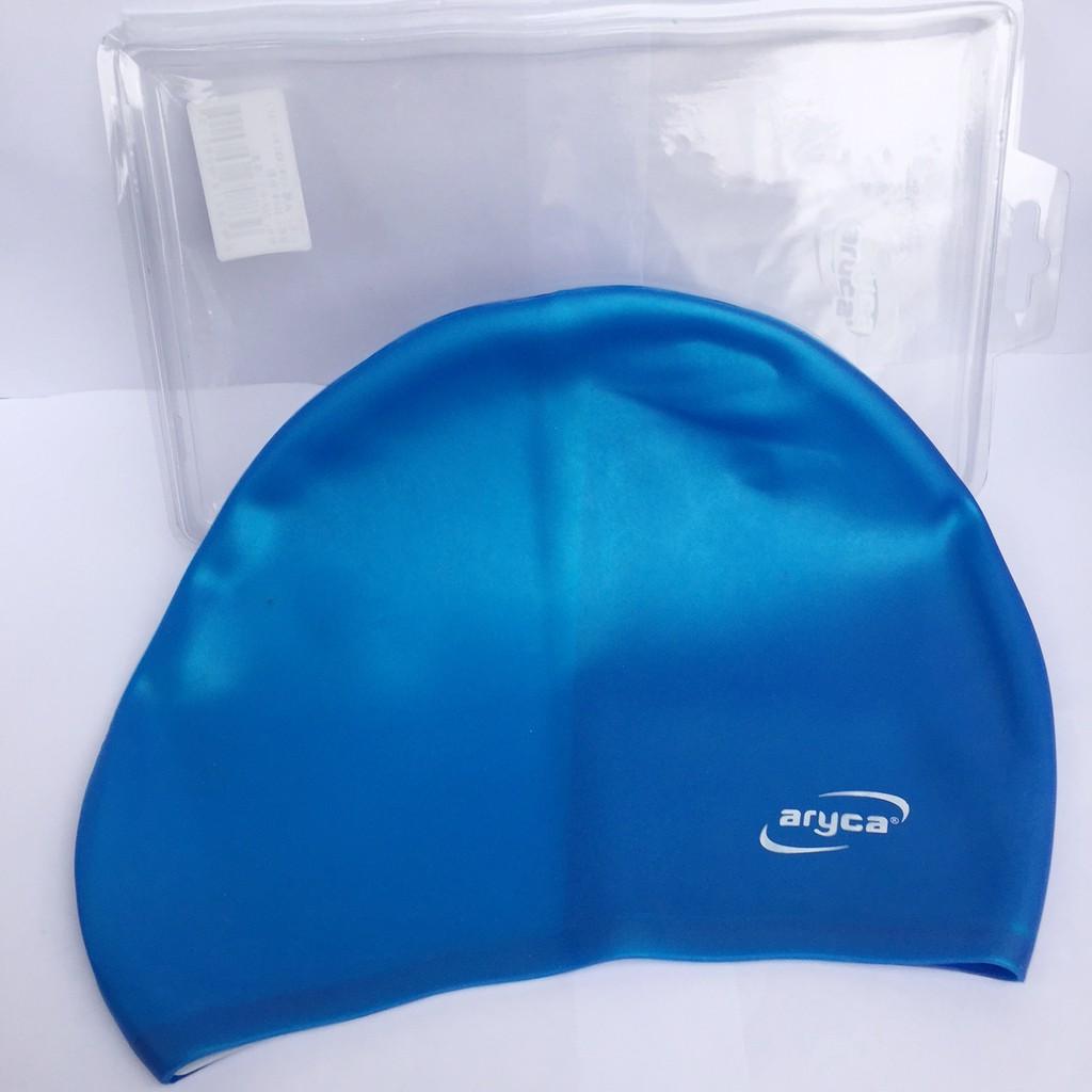 Mũ bơi silicon Aryca chùm tai cho người lớn ( Xanh / Đen)