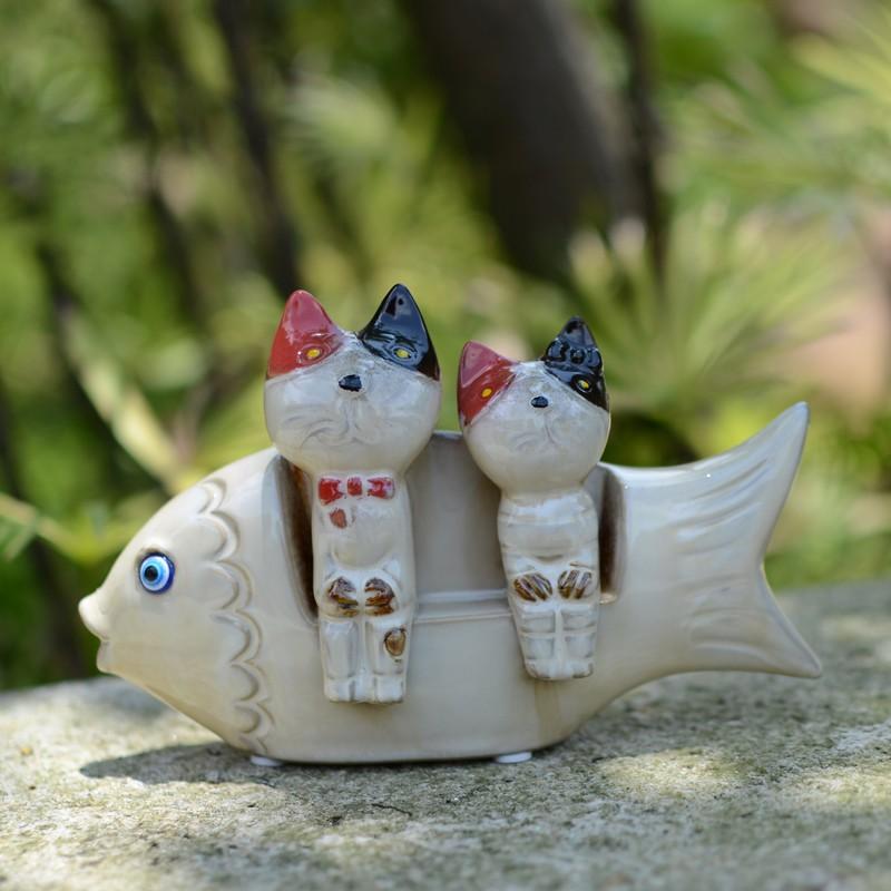 Bộ tượng mèo cá gốm
