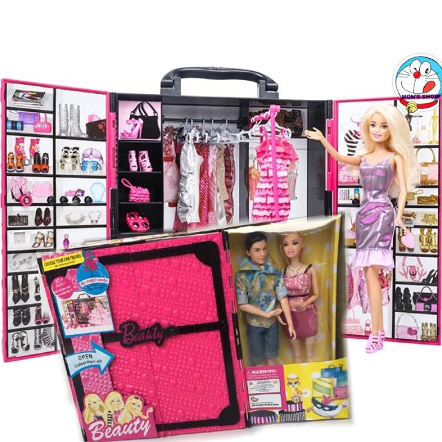 Đồ chơi ĐỘC: Búp bê Ken Barbie và tủ đồ phụ kiện thời trang