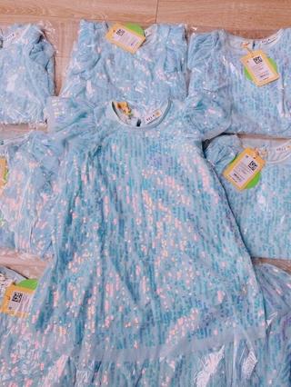 Váy Elsa kim sa xanh cánh tiên