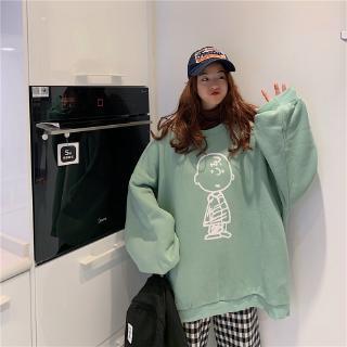 Áo Sweater Phối Nhung Dáng Rộng In Hình Đơn Giản Xinh Xắn