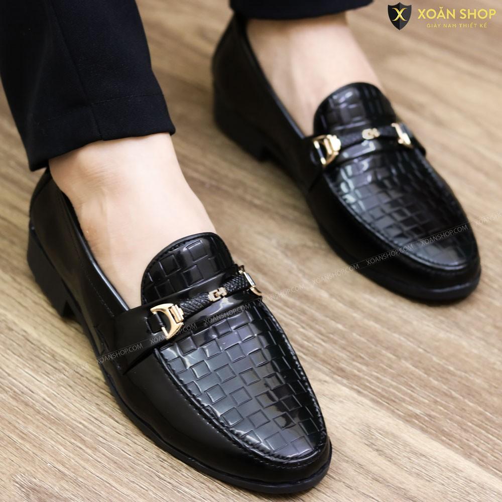 Giày Lười Da Bóng Nam Giá Rẻ - Đế Cao Su Tăng Chiều Cao 3cm - Mã L157 Màu Đen - Hàng Việt Nam