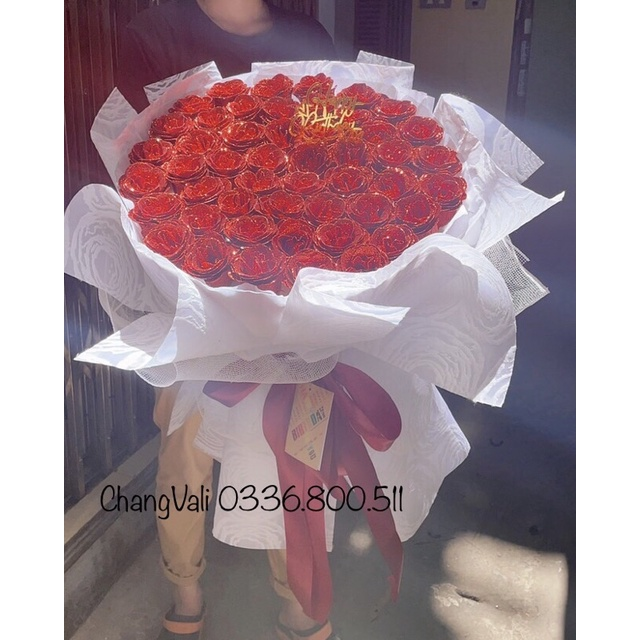 Bó hoa nhũ kim tuyến 50 bông siêu to-siêu chảnh