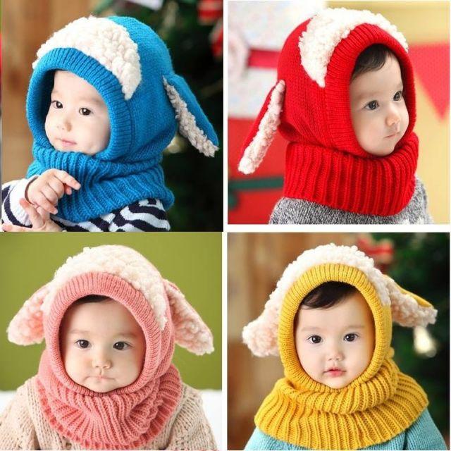 Mũ len lông cừu chùm cổ cho bé